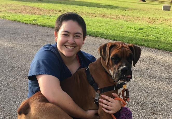 Volunteer Gina G with her dog