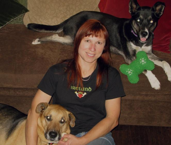 Best Friends in L.A. volunteer Kristin with her two dogs