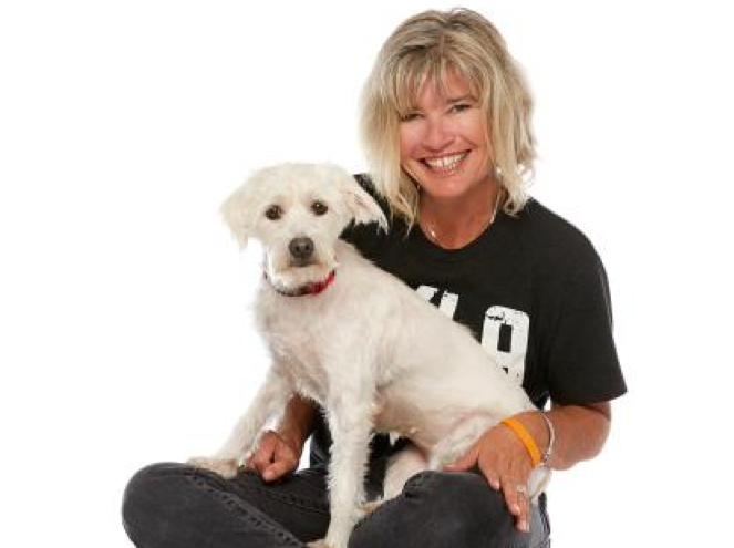 Volunteer Deirdre Willis with a dog