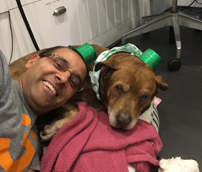 Best Friends volunteer Robert L. with his dog