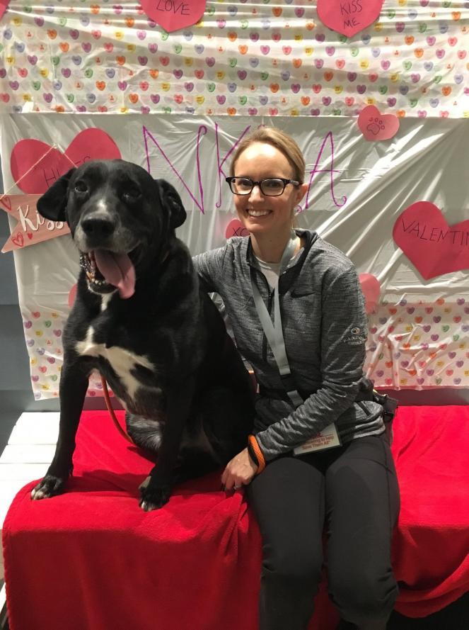 Volunteer Michelle Pratt with her dog
