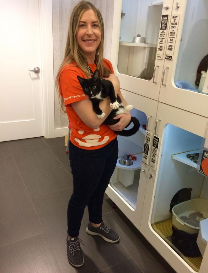 Cat volunteer Vanessa with a cat