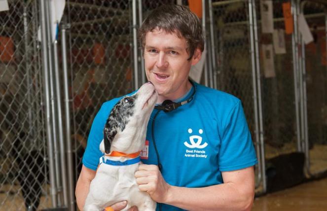 Zach Walker with a dog