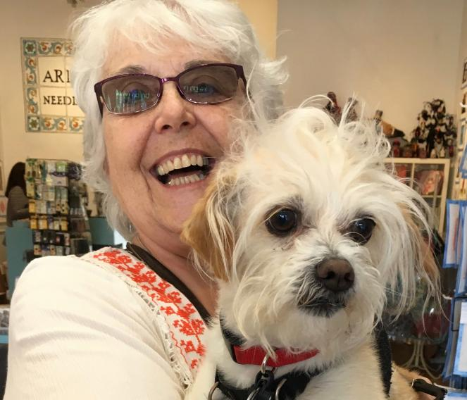Best Friends volunteer Barbara C. with a dog