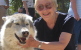 Volunteer Diane with a dog