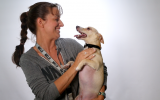 Volunteer Erin LaBrie with her dog