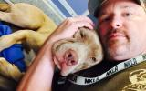Brent J. with a pit bull terrier