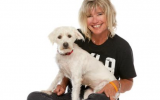 Volunteer Deirdre Willis with a dog