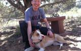 Volunteer dog groomer Sage with a dog