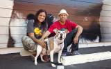 Couple with dog they adopted from the NKLA Pet Adoption Center