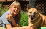 Volunteer Gillian with her dog
